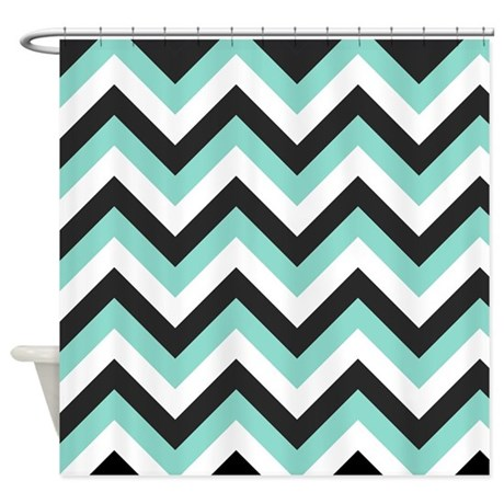 Turquoise And Grey Chevrons Shower Curtain By