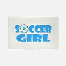 Soccer Girl Blue Text Rectangle Magnet