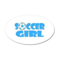 Soccer Girl Blue Text Wall Decal