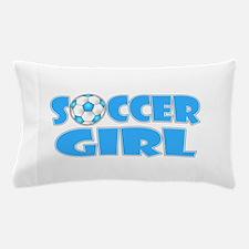 Soccer Girl Blue Text Pillow Case