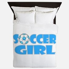 Soccer Girl Blue Text Queen Duvet