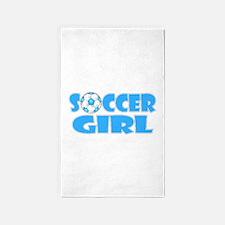 Soccer Girl Blue Text 3'x5' Area Rug