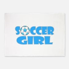 Soccer Girl Blue Text 5'x7'Area Rug