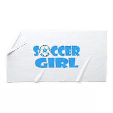 Soccer Girl Blue Text Beach Towel