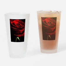 Red Rose of Love on Black Velvet Drinking Glass