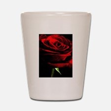 Red Rose of Love on Black Velvet Shot Glass