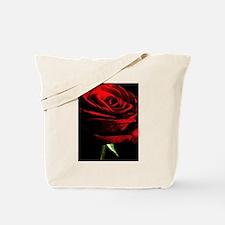 Red Rose of Love on Black Velvet Tote Bag