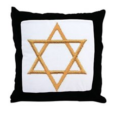 Gold Star of David Throw Pillow