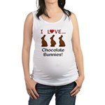 I Love Chocolate Bunnies Maternity Tank Top
