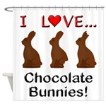I Love Chocolate Bunnies Shower Curtain