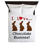 I Love Chocolate Bunnies Queen Duvet