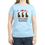 I Love Chocolate Bunnies Women's Light T-Shirt