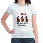 I Love Chocolate Bunnies Jr. Ringer T-Shirt