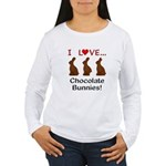 I Love Chocolate Bunni Women's Long Sleeve T-Shirt