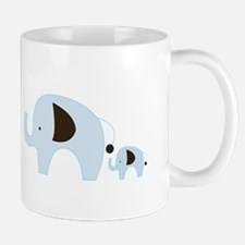 Blue Mod Elephants Mom and Baby Mugs