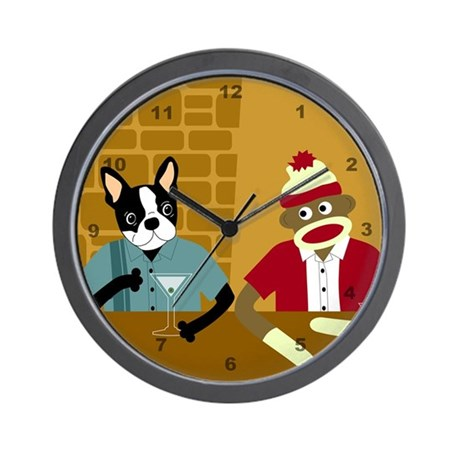 Boston Terrier & Sock Monkey Wall Clock