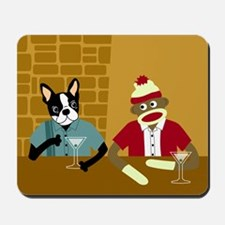 Boston Terrier & Sock Monkey Mousepad