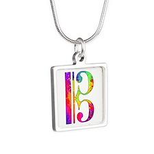 Colorful Alto Clef Silver Square Necklace