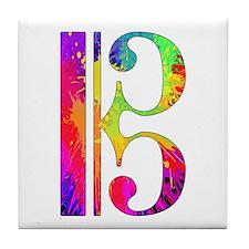 Colorful Alto Clef Tile Coaster
