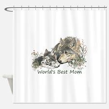 Worlds Best Mom Wolf Cubs Animal Shower Curtain