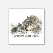 Worlds Best Mom Wolf Cubs Animal Sticker