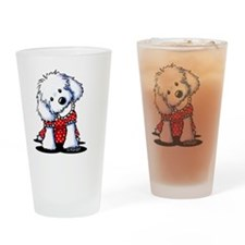 Maltese Cutie In Dots Drinking Glass