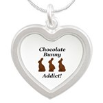 Chocolate Bunny Addict Silver Heart Necklace