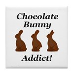 Chocolate Bunny Addict Tile Coaster