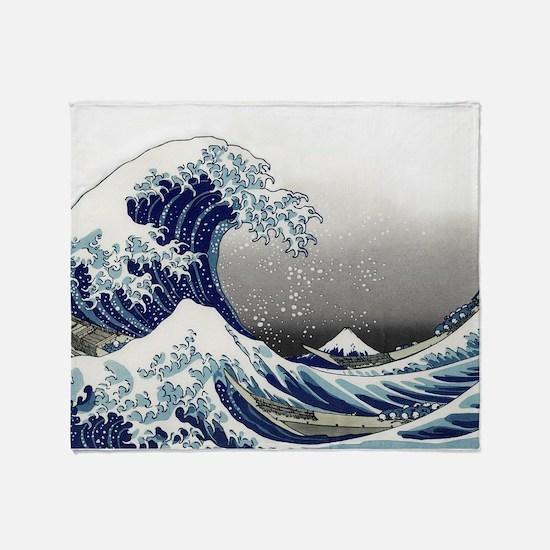 great wave of Kanagawa by hokusai Throw Blanket