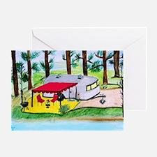 Air stream Camper on the lake Greeting Card