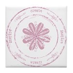 create, inspire (pink) Tile Coaster