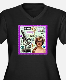 Talk Nerdy Towomen's V-Neck Dark Plus Size T-Shirt