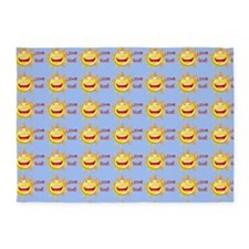 I Love God (sun) Baby Blue Rug 5'x7'Area Rug