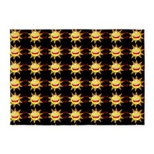 I Love God (suns) Black Rug 5'x7'Area Rug