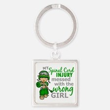 Spinal Cord Injury CombatGirl1 Square Keychain