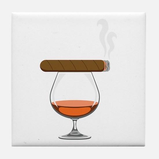 Brandy Cognac Cigar Tile Coaster