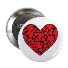 """Red Hearts On Black 2.25"""" Button (10 Pack)"""