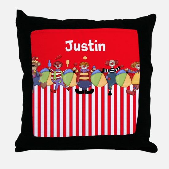 Fun Clowns Red Personalized Throw Pillow