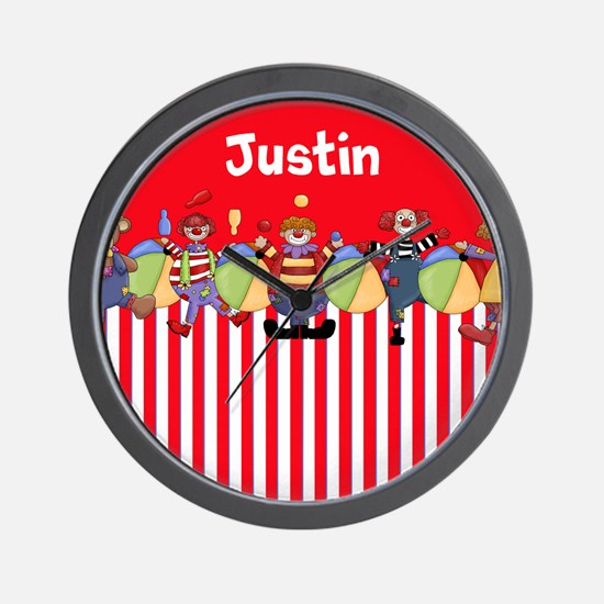 Fun Clowns Red Personalized Wall Clock