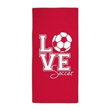 Love Soccer, Crimson Red3 Beach Towel