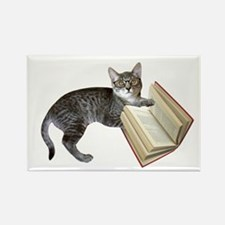 Reading Cat Rectangle Magnet