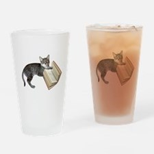 Reading Cat Drinking Glass