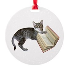 Reading Cat Ornament