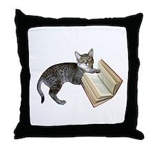 Reading Cat Throw Pillow