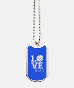 Love Volleyball, Royal Blue3 Dog Tags