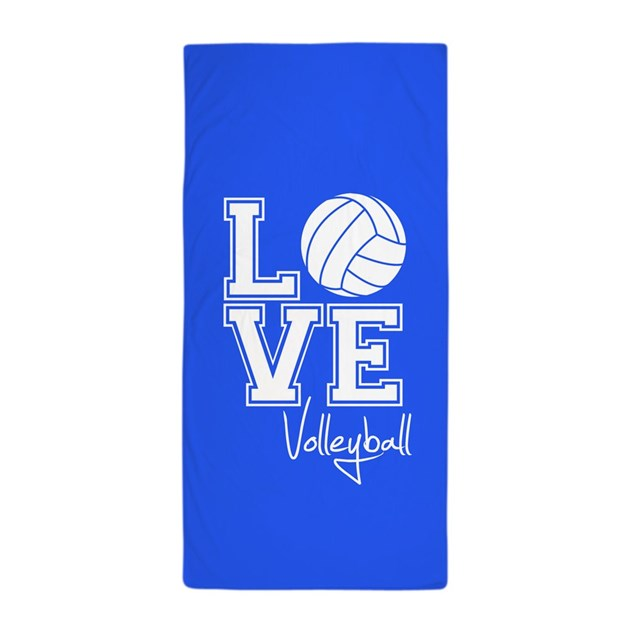 Beach Blanket Volleyball: Love Volleyball, Royal Blue3 Beach Towel By ClipArtMEGAmart