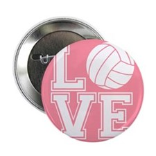 """Love Volleyball, Salmon Pink1 2.25"""" Button (10 pac"""