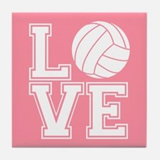 Love Volleyball, Salmon Pink1 Tile Coaster