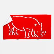 Red Rhinoceros Beach Towel