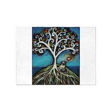 Pug love Tree of Life 5'x7'Area Rug